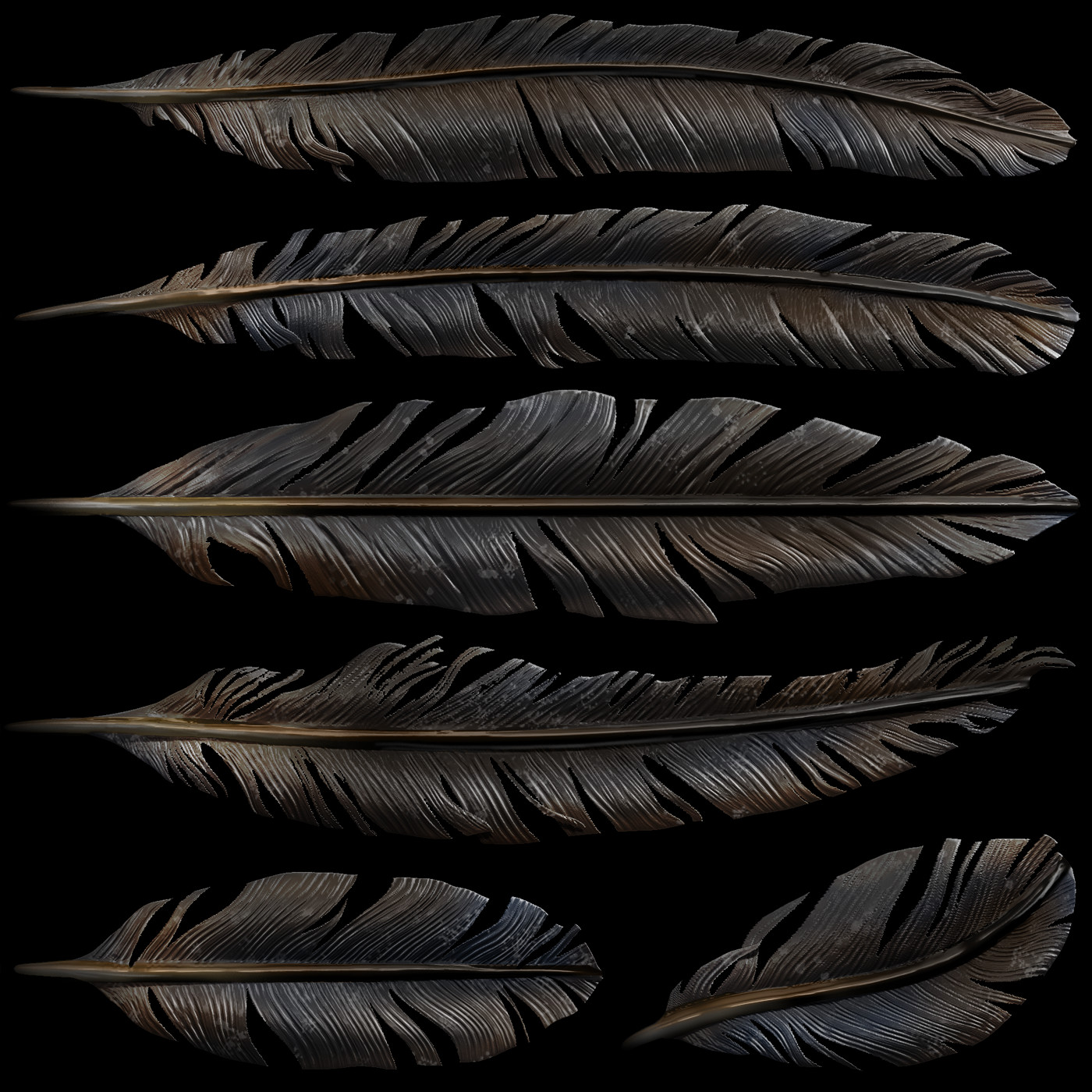 Custom feather sheet - sculpted in Zbrush.