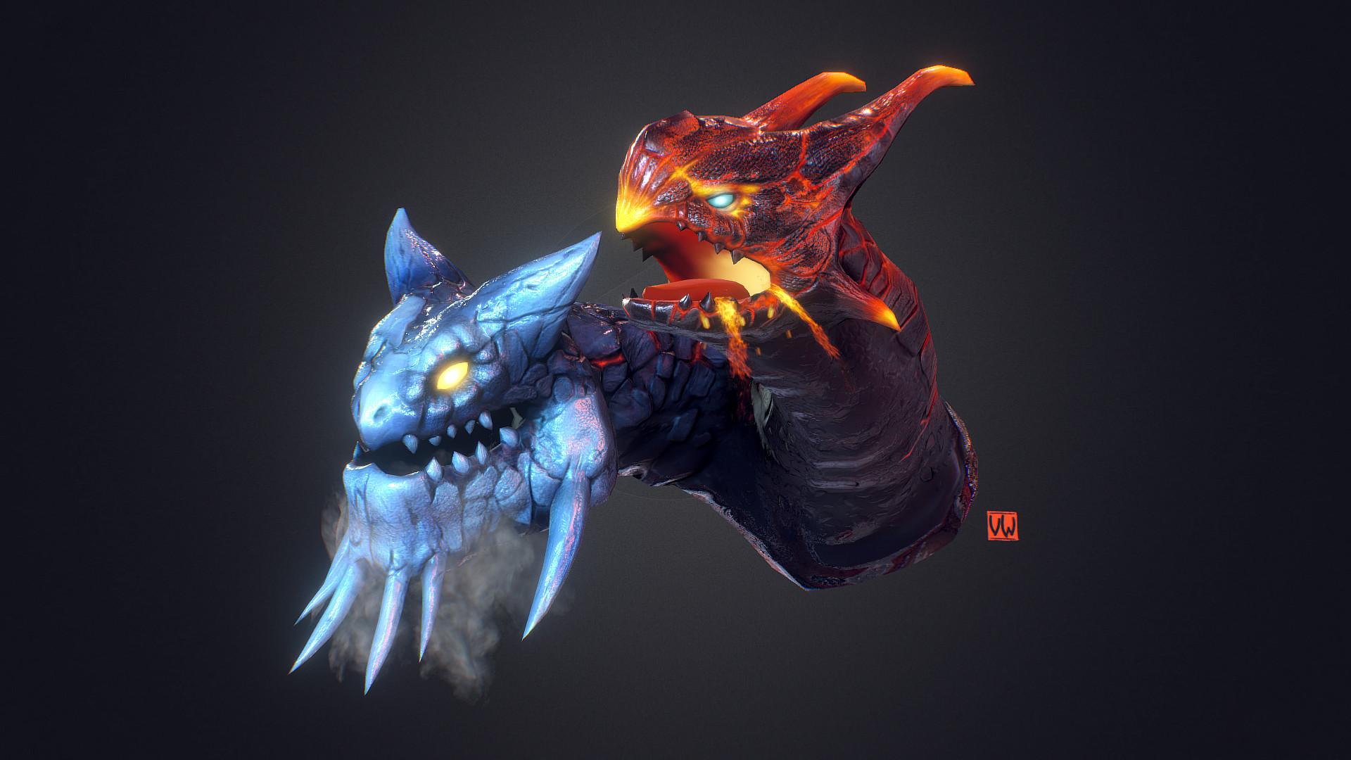 Artstation Jakiro The Twin Head Dragon Wlad Vermilion