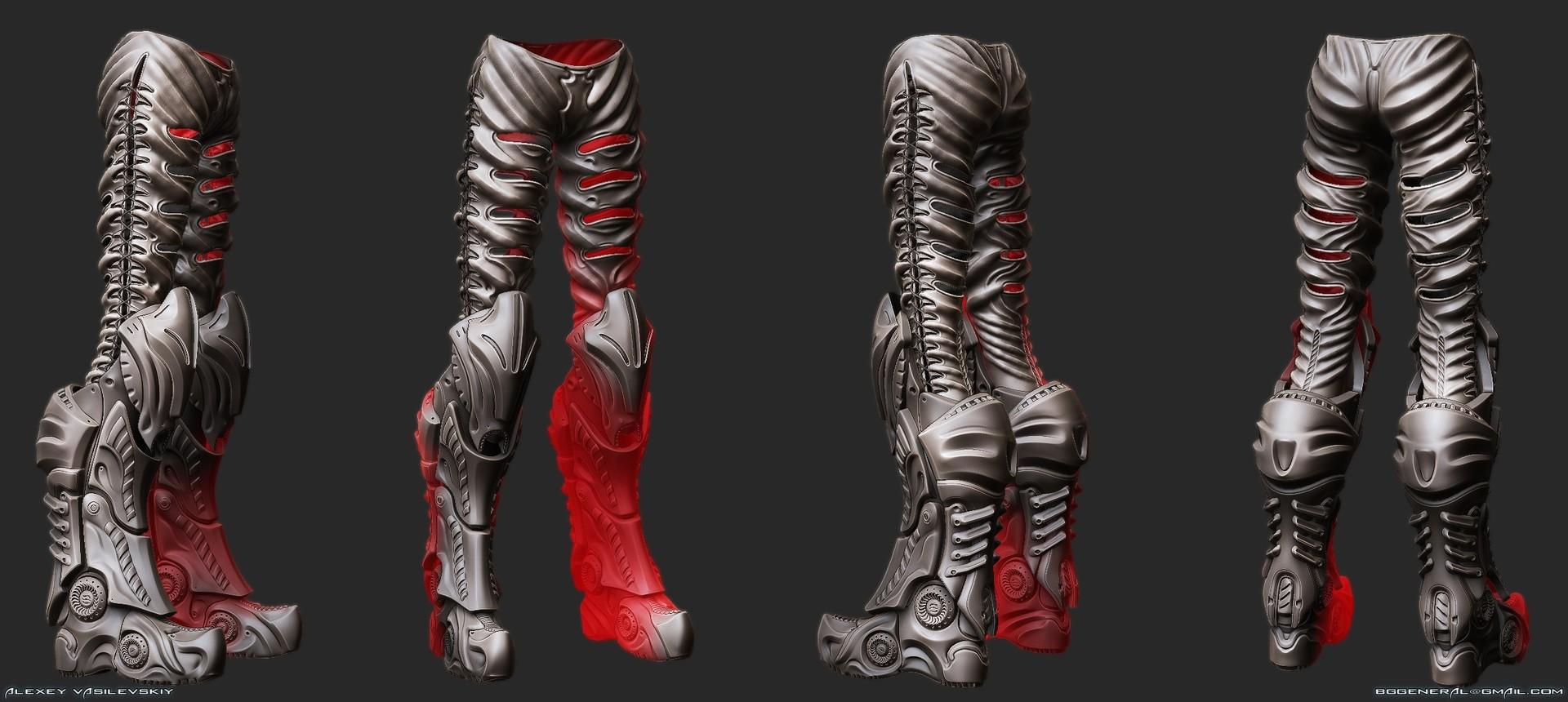 Alexey Vasilevskiy Fantasy Female Armor Pants And Boots