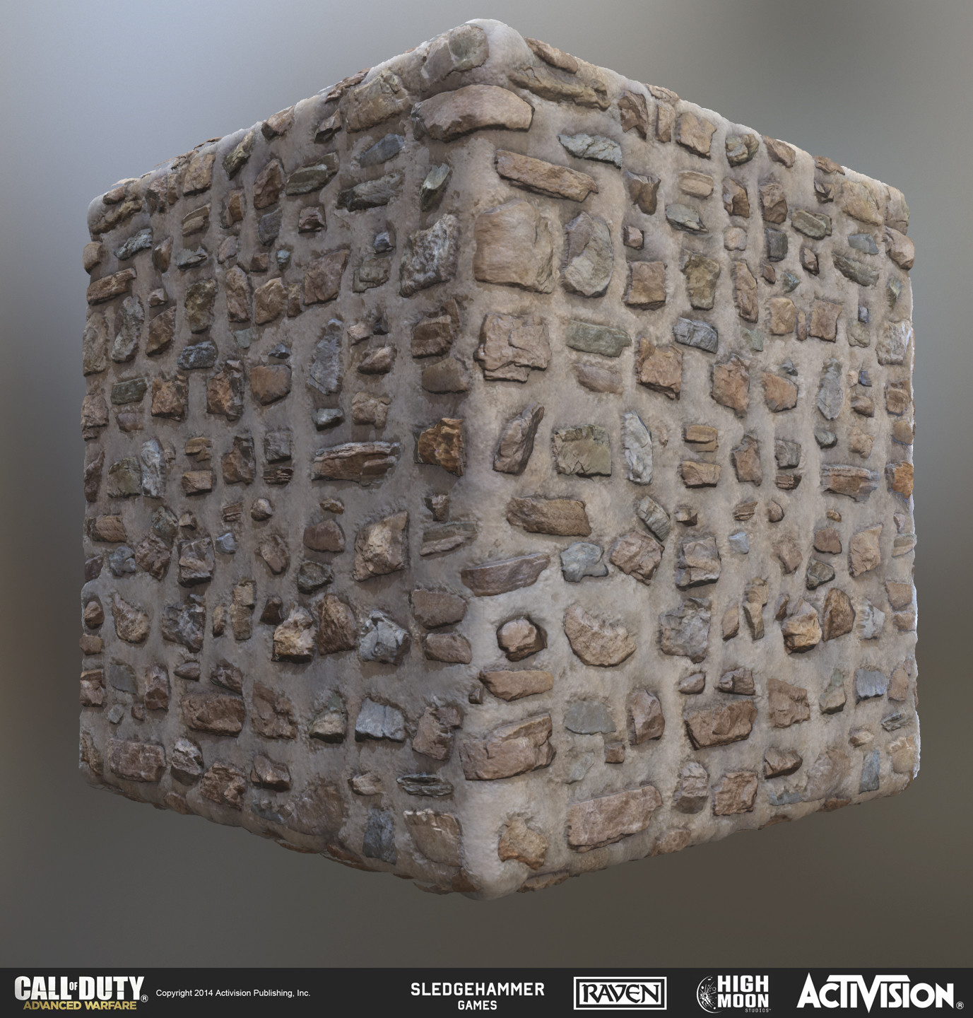 Stone and plaster wall material.