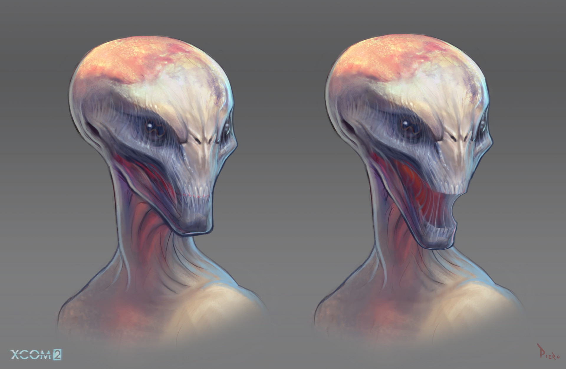 Piero macgowan sectoid head sketches color 3