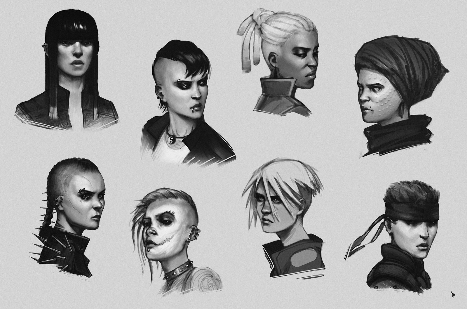 Some head exercises to try out different personalities. Maybe the 4 on the left belong to the same gang of punk outlaws. The rest are a bit more random, especially bottom right, which is obviously inspired by Solid Snake :)