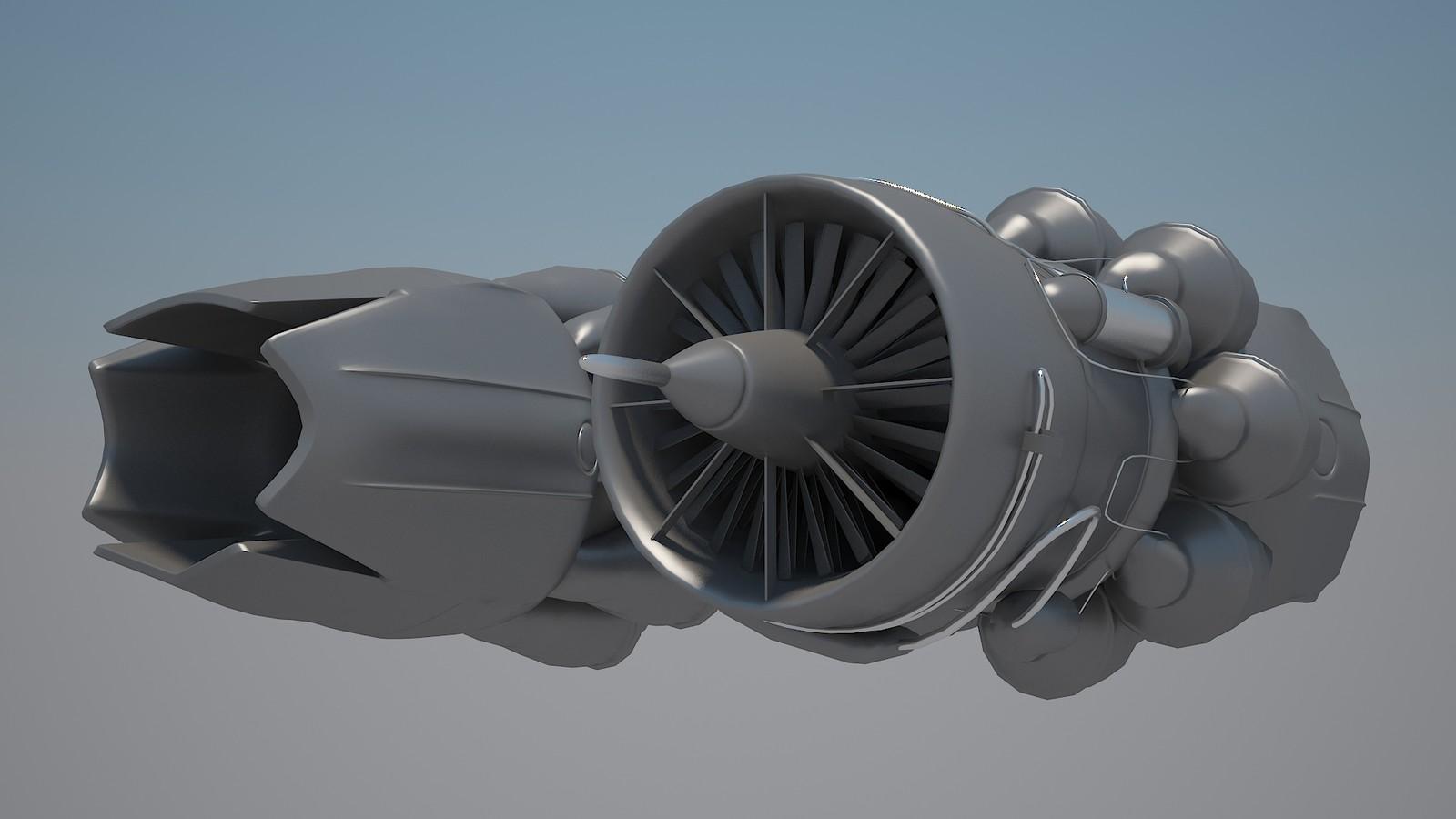 Military Jet Engine Render