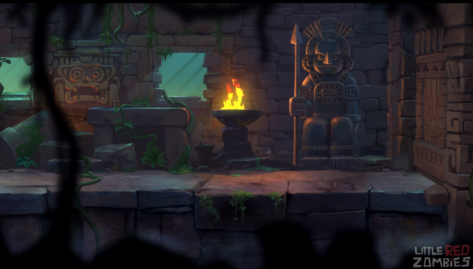 Platformer game Concept Background-Mayan level