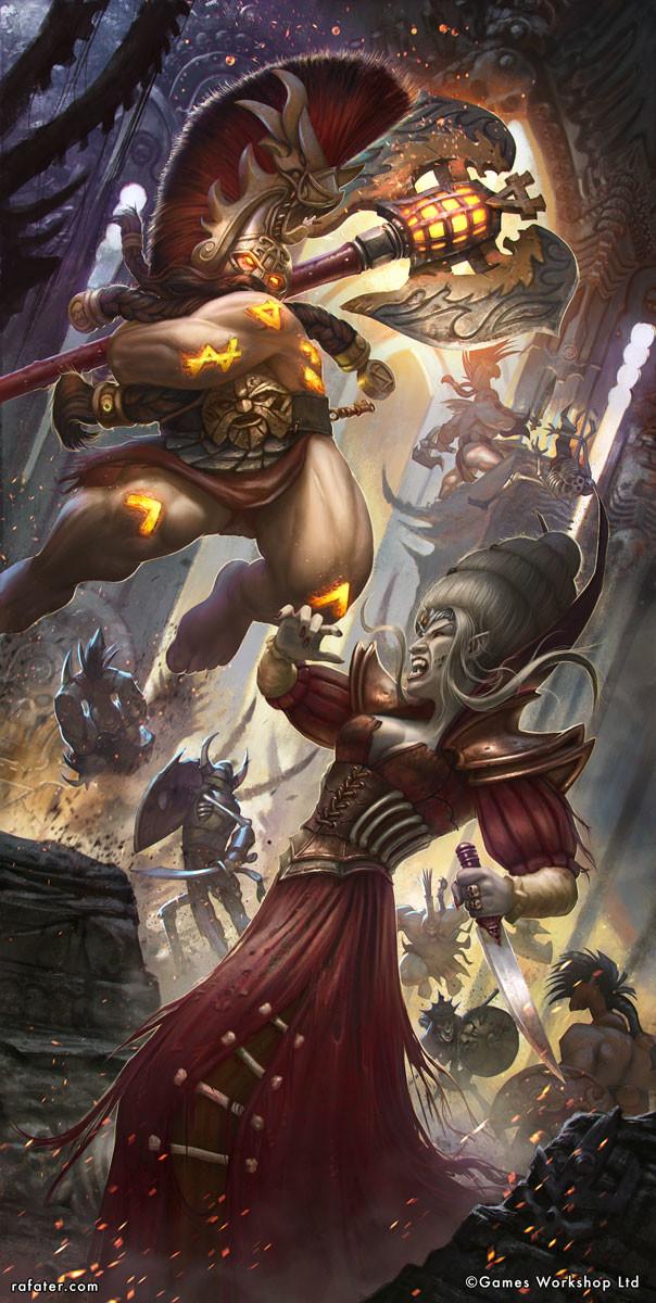 Rafael teruel warhammer age of sigmar grimwrath berserker vs vampire by rafater