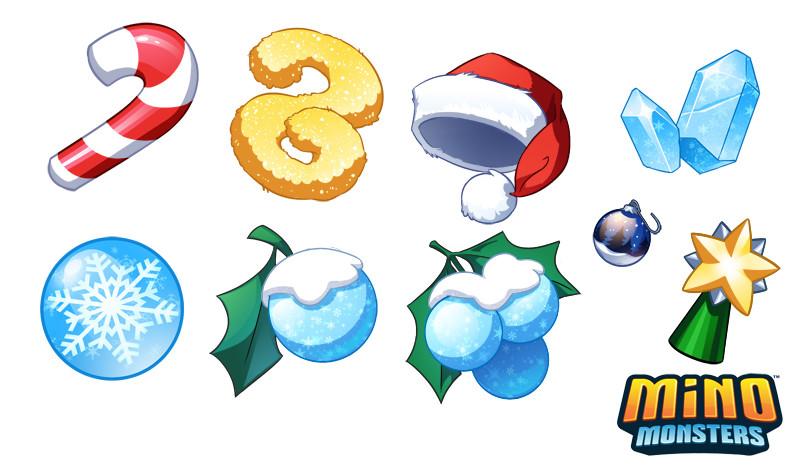 2D art assets for Mino Monsters winter event