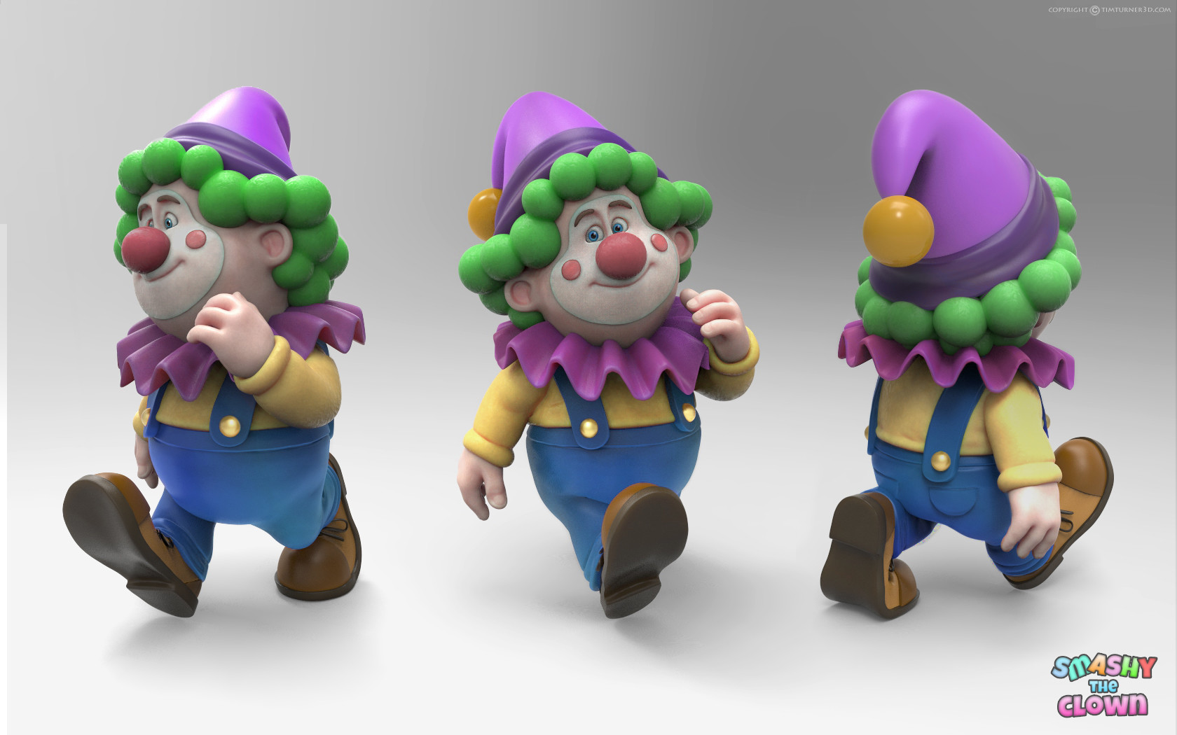Tim turner 3d smashy clown render