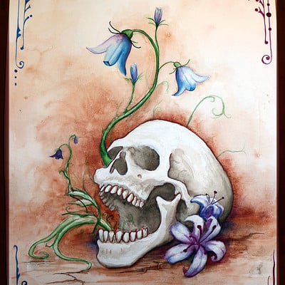 Casey weeks skull flowers
