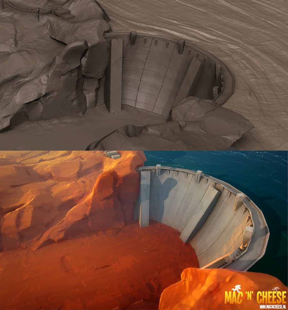 The dam in Zbrush and the dam in the final film