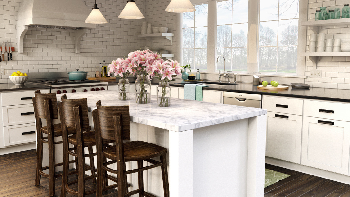 Architectural Rendering - Country Kitchen