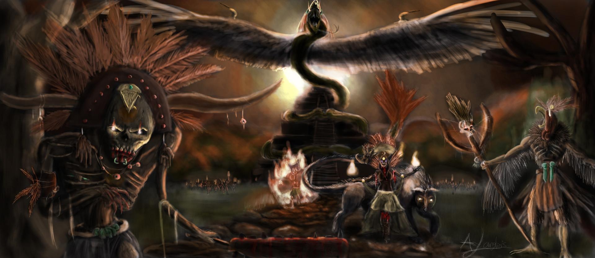 potenza L'ascesa degli dèi aztechi - by Alexandre Langlois artstation.com © dell'autore