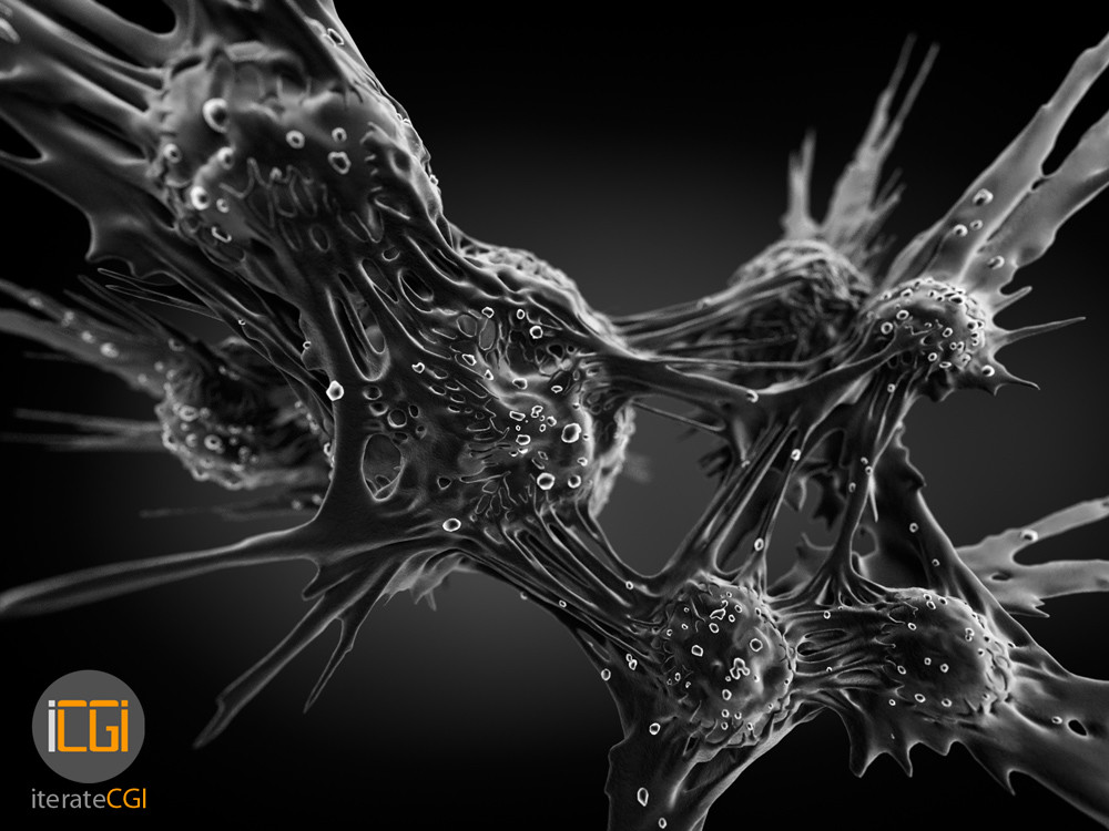Cancer cells electron microscope visualization