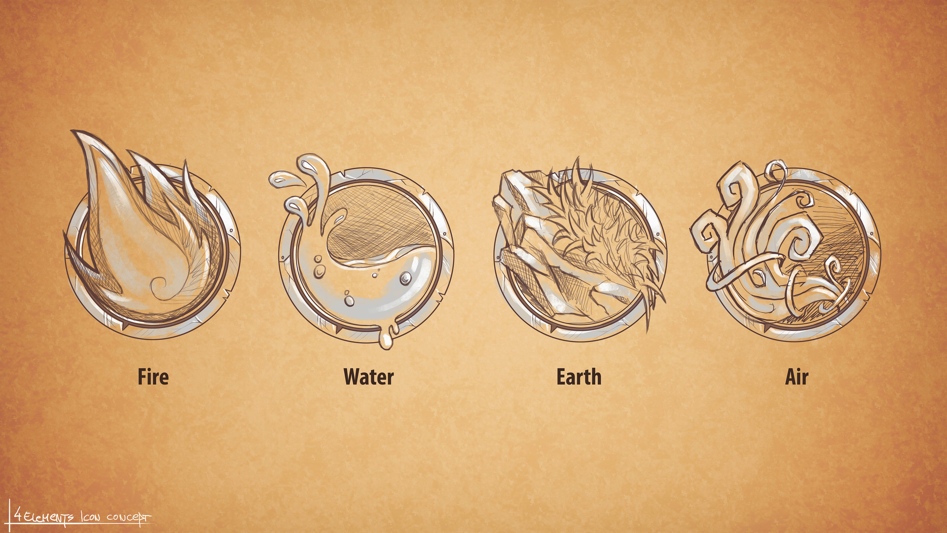 Ivan sevic 4 element icons sketch