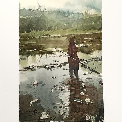 Andrei riabovitchev hunter watercolor 01