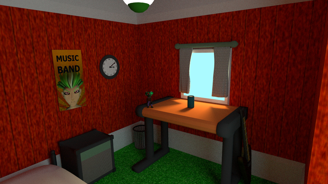 """I tried to create the room of a """"white young upstart"""" as best I could. Notice the Koy figure on the desk- he won't be alone in the final animation!"""