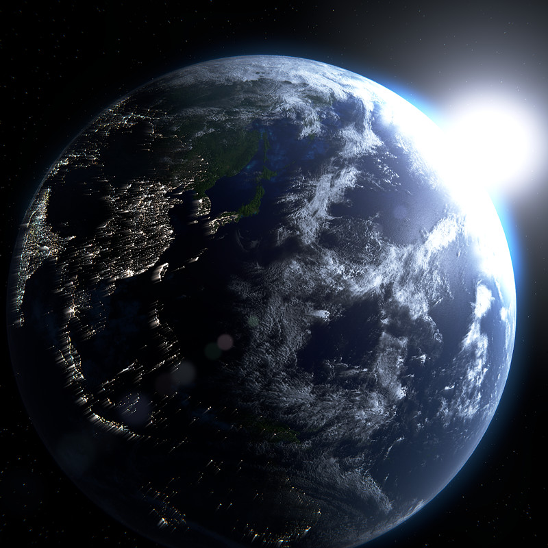 Sunrise on the blue planet