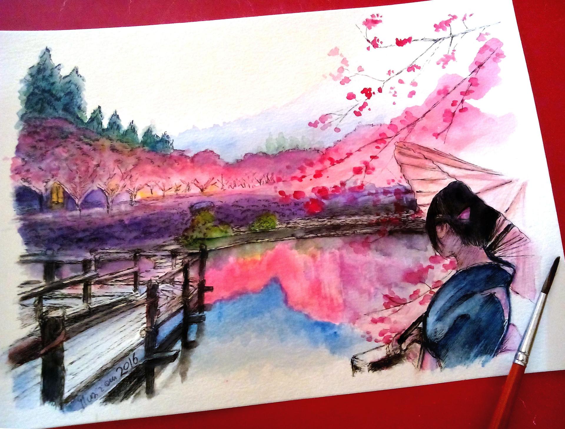 Artstation Japanese Landscape Ink And Watercolors Musiriam Di Trapani