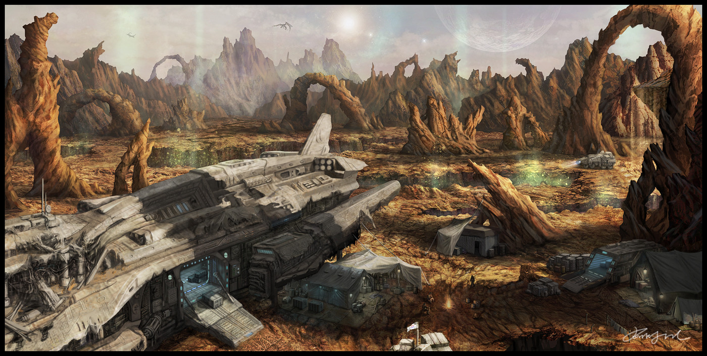 ArtStation - The spaceship crash landed in an alien planet ...
