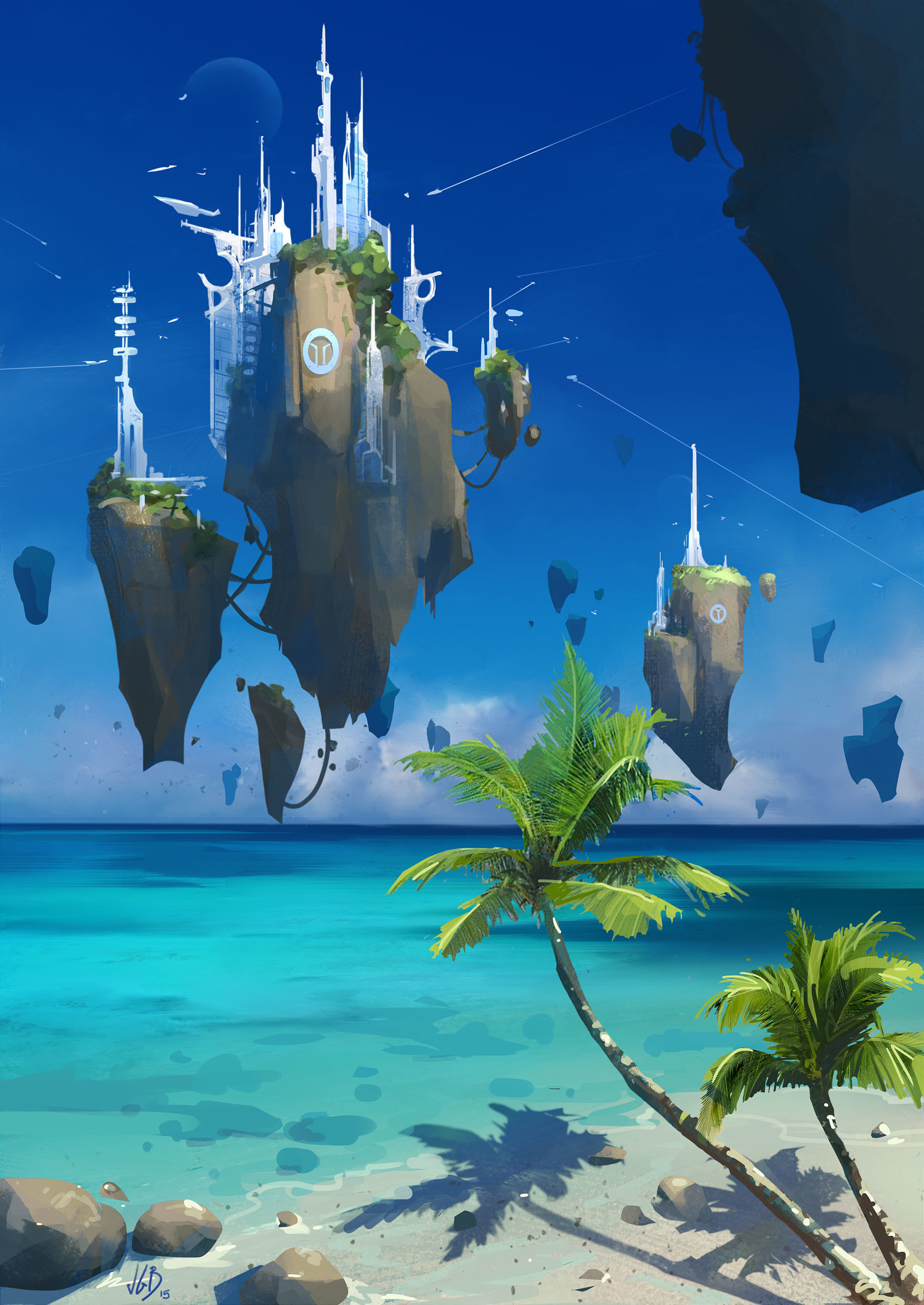 fantasy art floating city