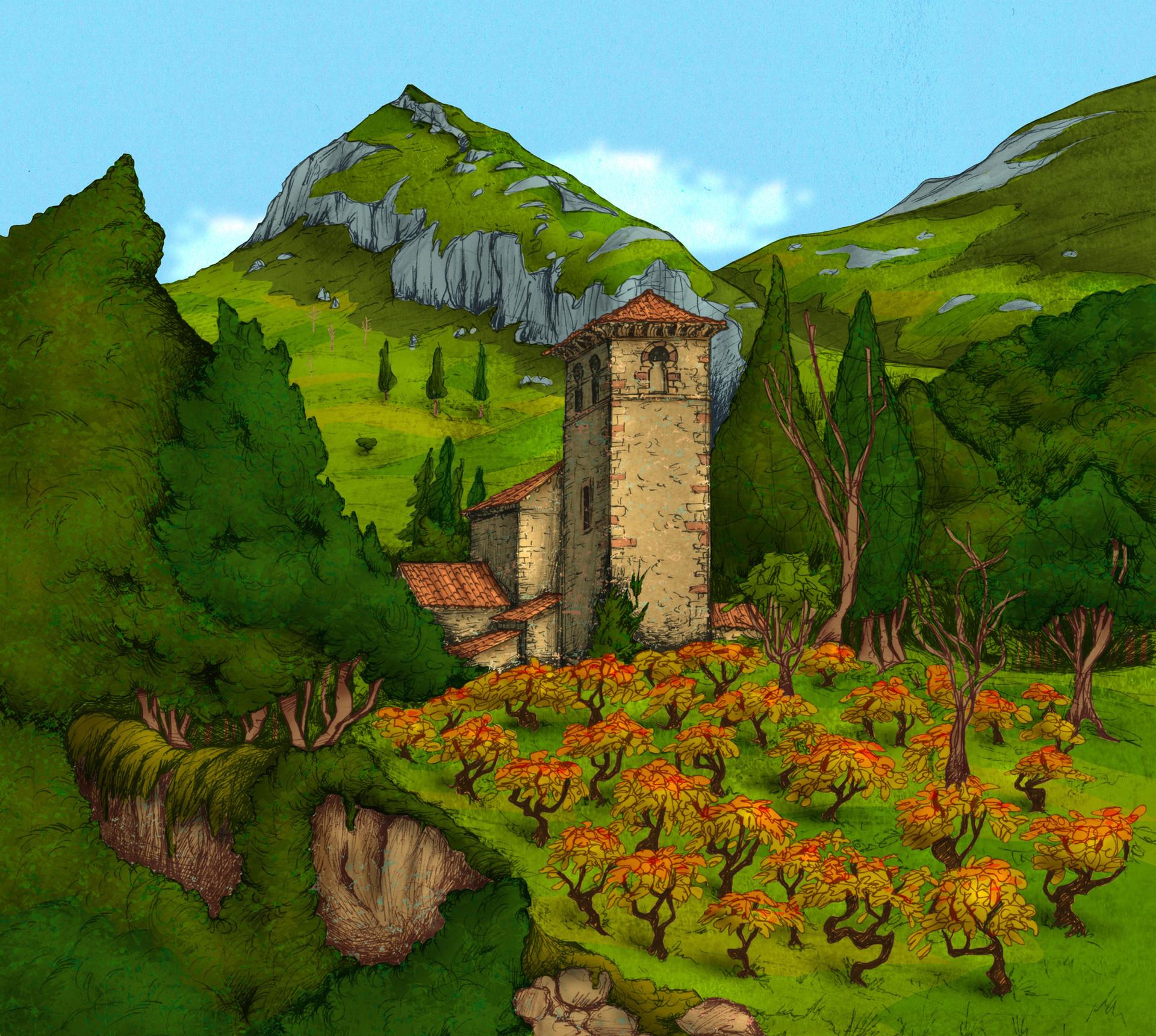 Autogiro illustration studio church in village