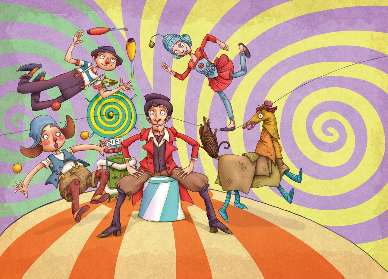 Autogiro illustration studio travelling circus a