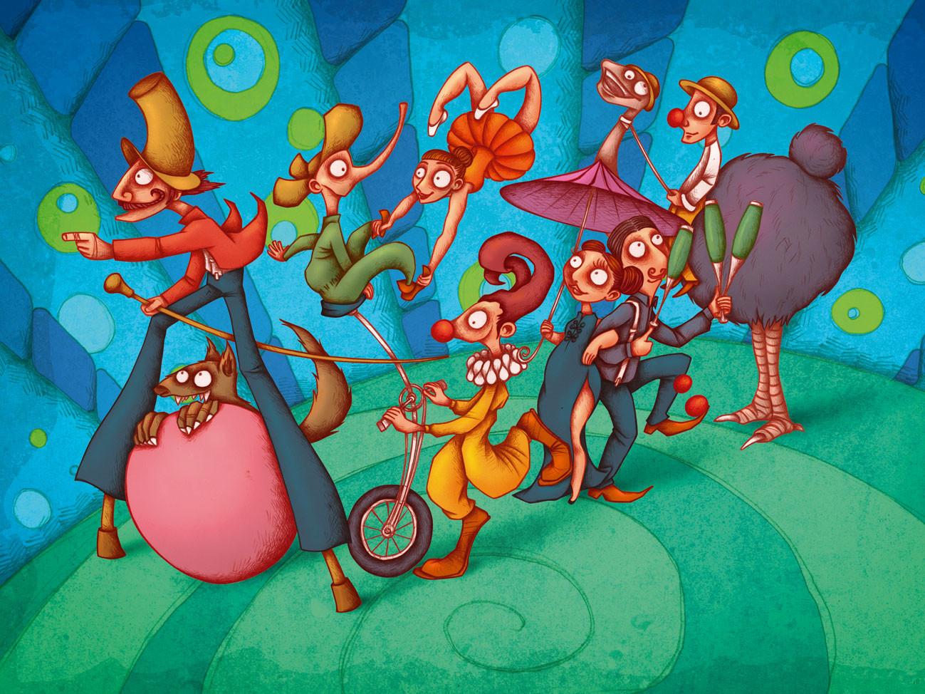 Autogiro illustration studio circus
