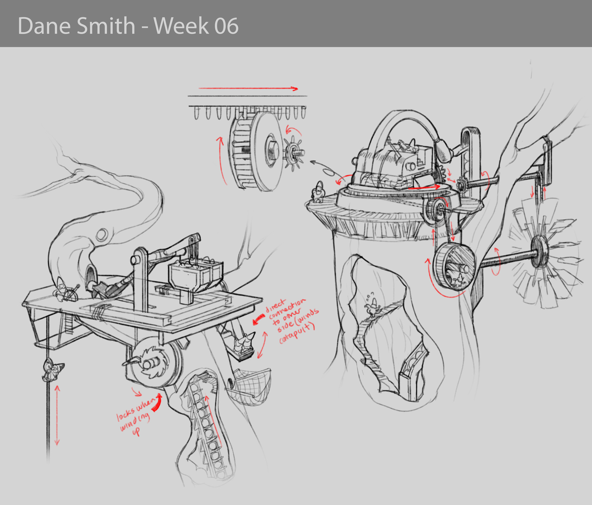 Artstation The Tree Mounted Gnomish Catapult Dane Smith Diagram Preliminary Sketching