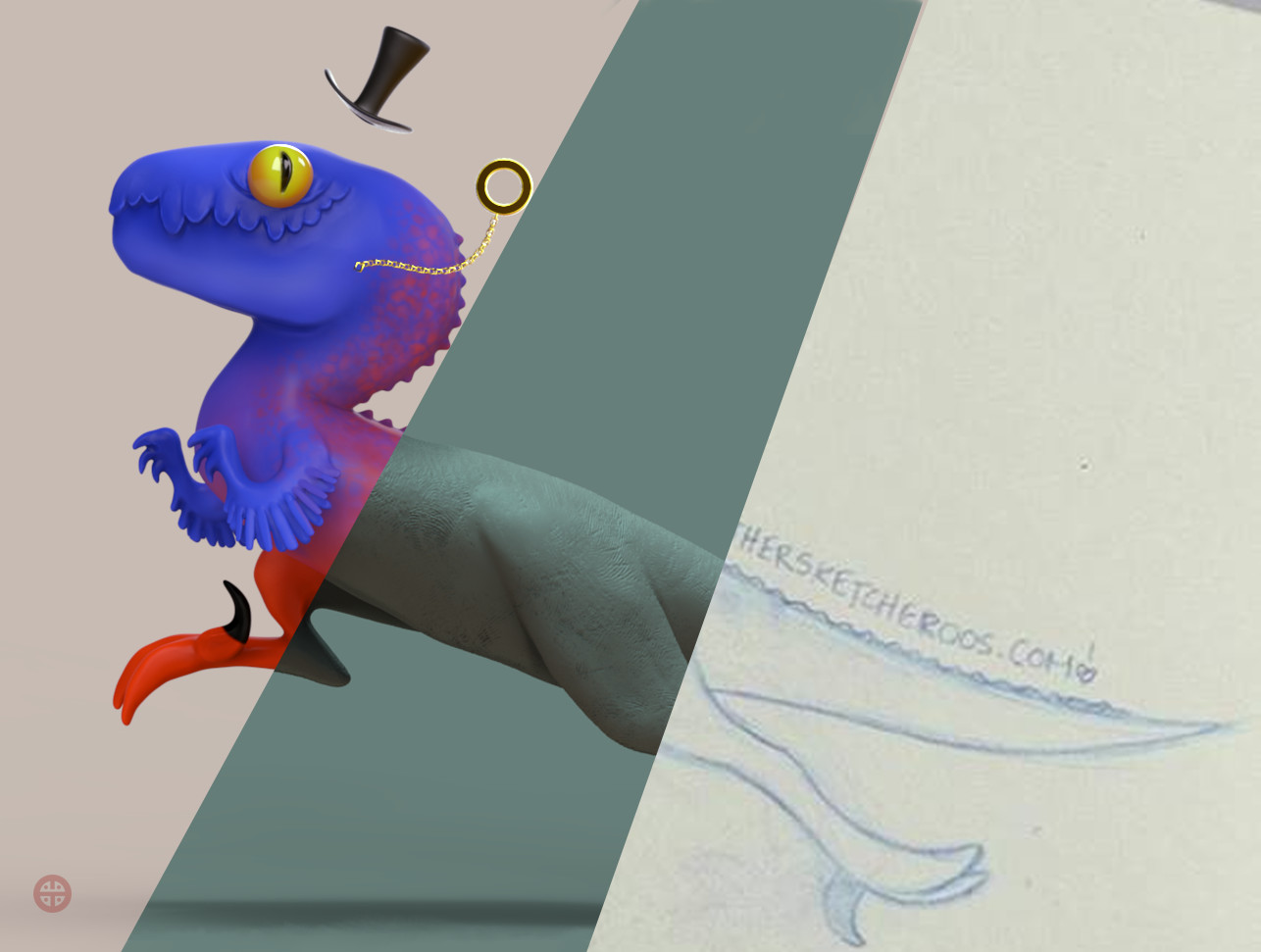 Final render / Clay render / Original sketch