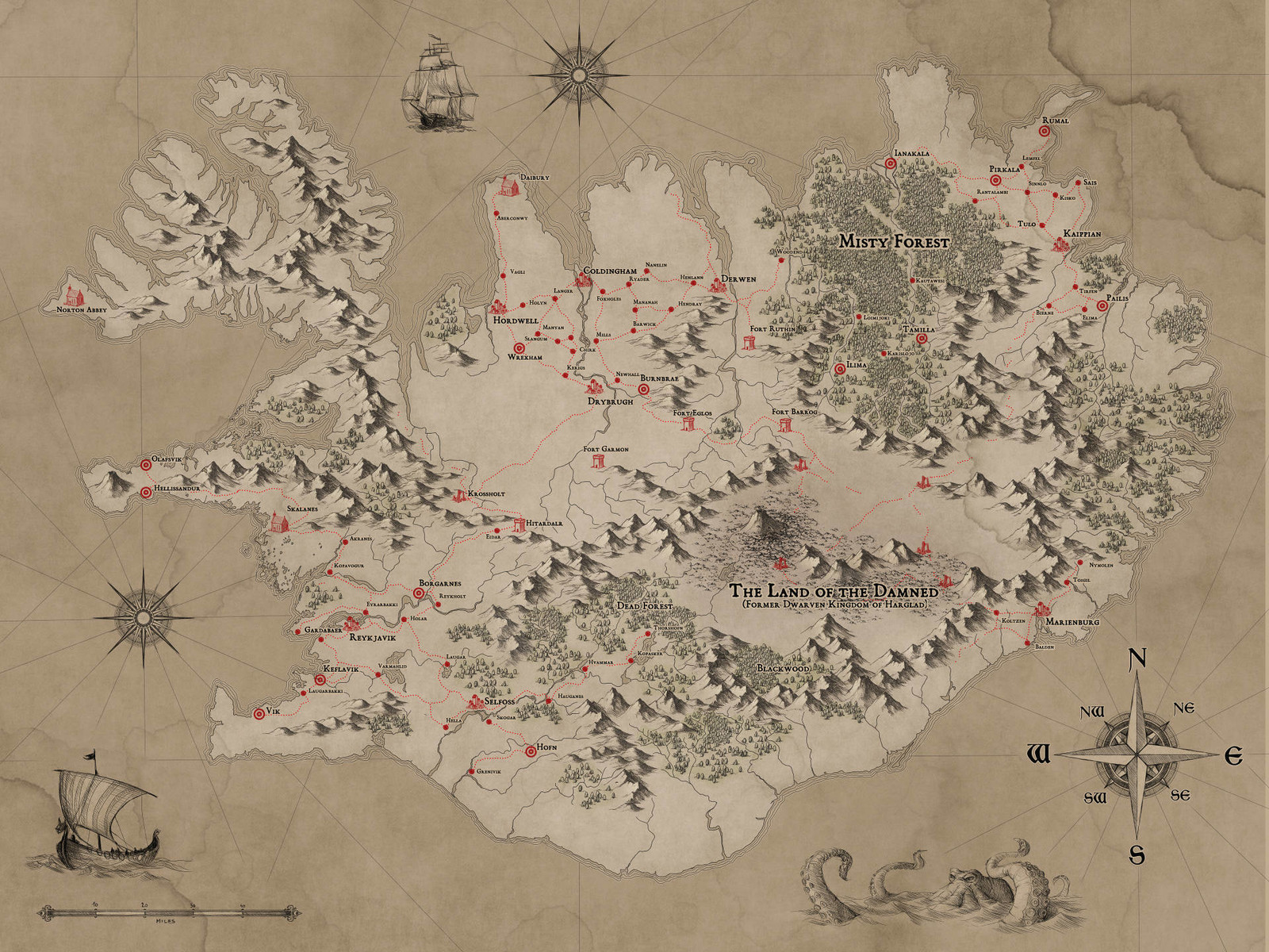 Fantasy Iceland Map