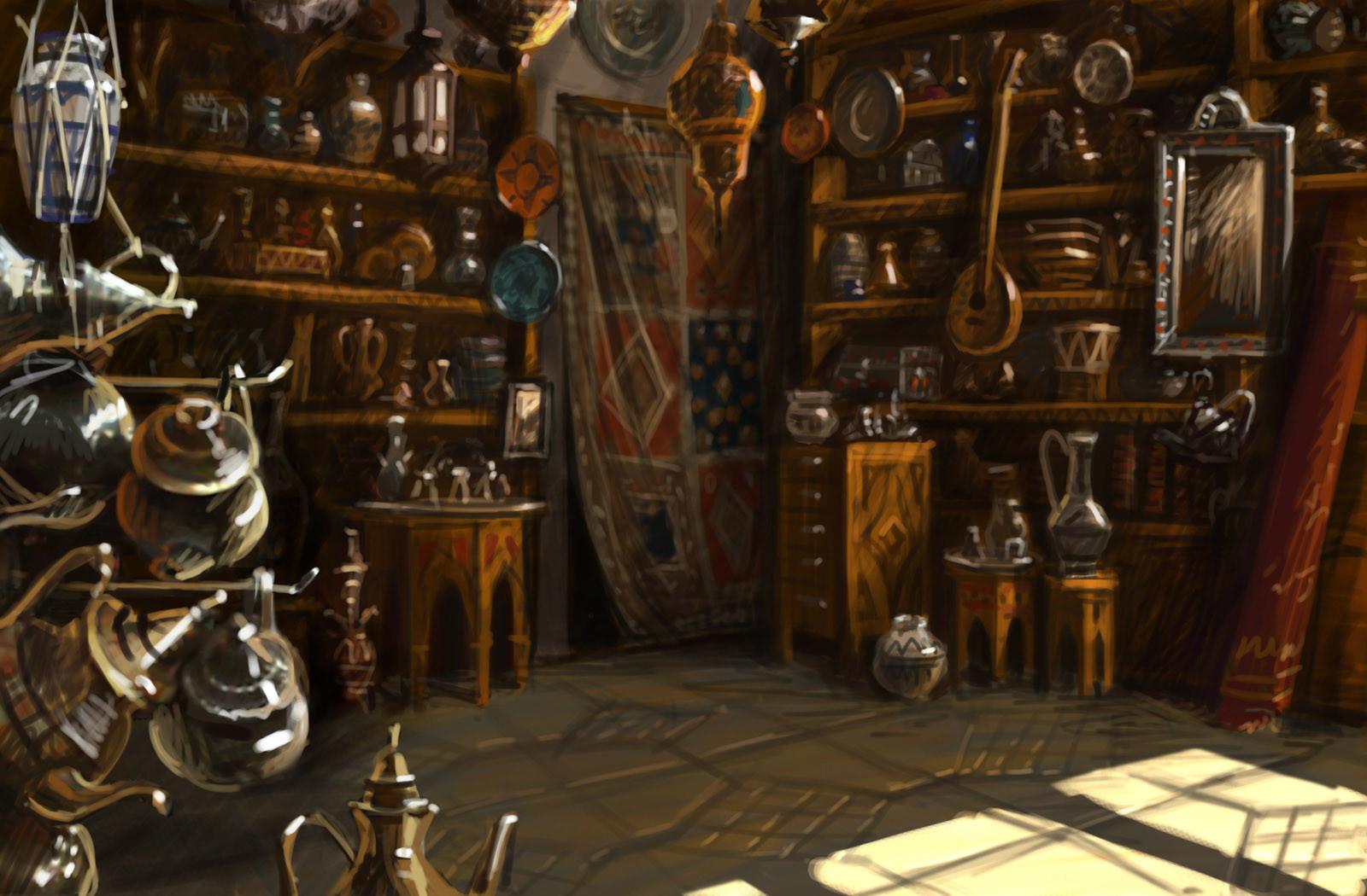 olga antonenko marrakesh antique shop backgrounds for lost horizon game. Black Bedroom Furniture Sets. Home Design Ideas