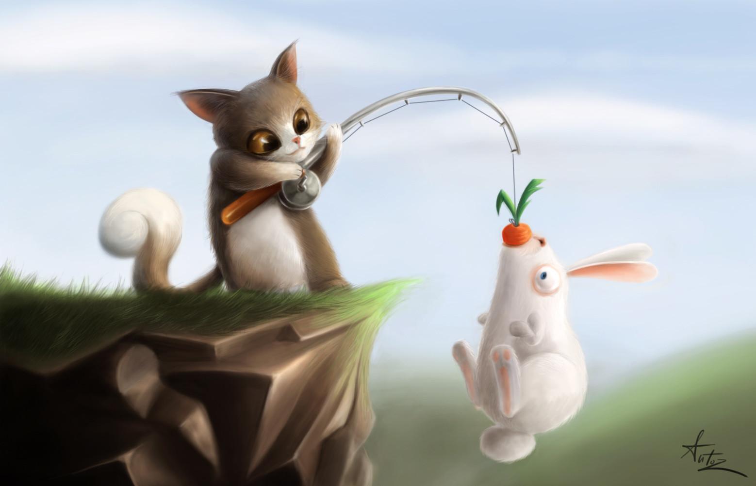 Открытки с котом и зайцем