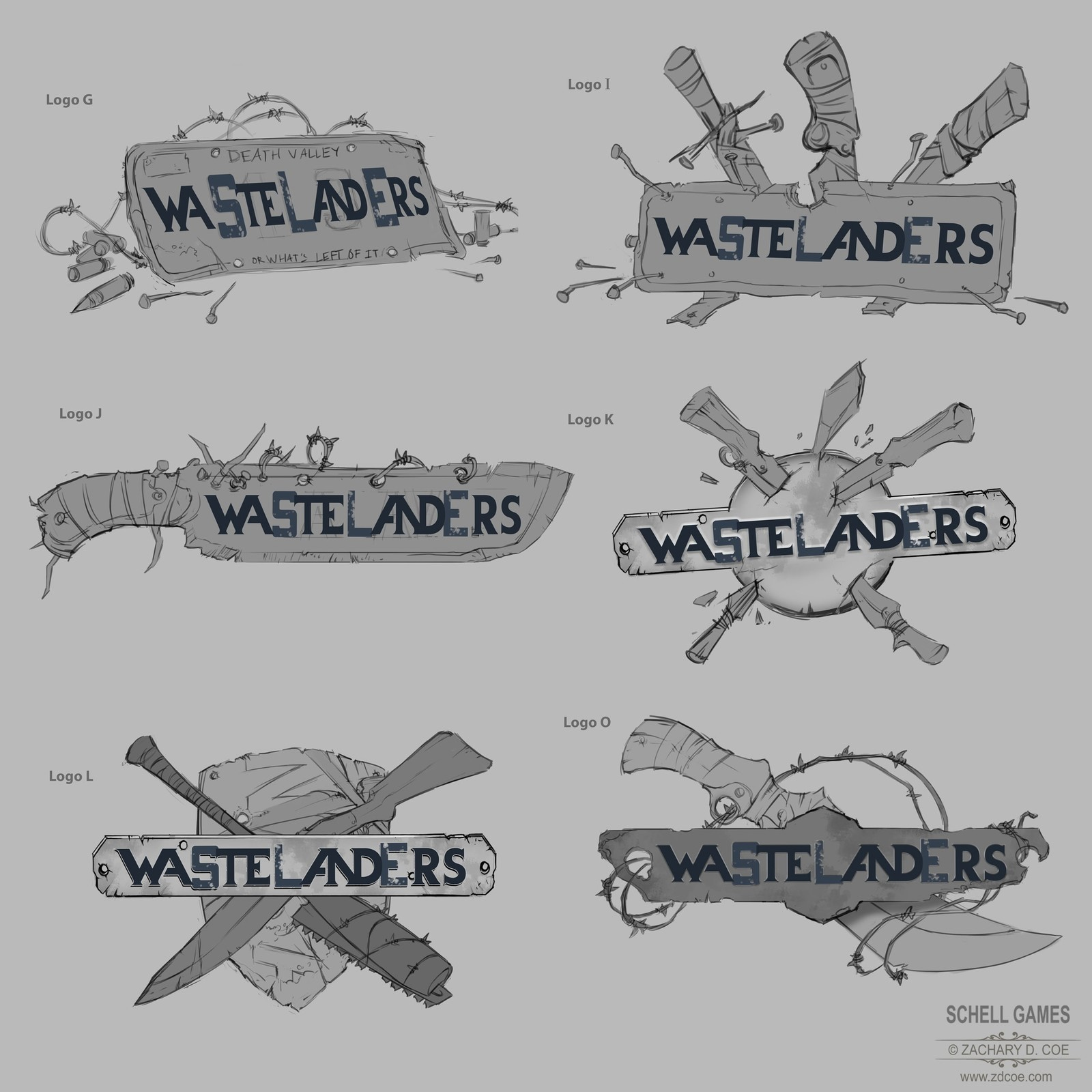 WASTELANDERS LOGO Sketches 1 by Zachary D. Coe