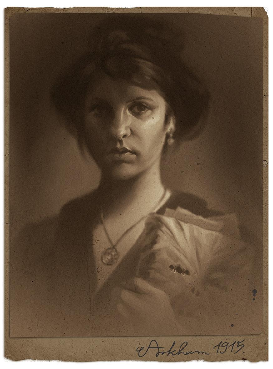 Magda proski autoportrait with necronomicon