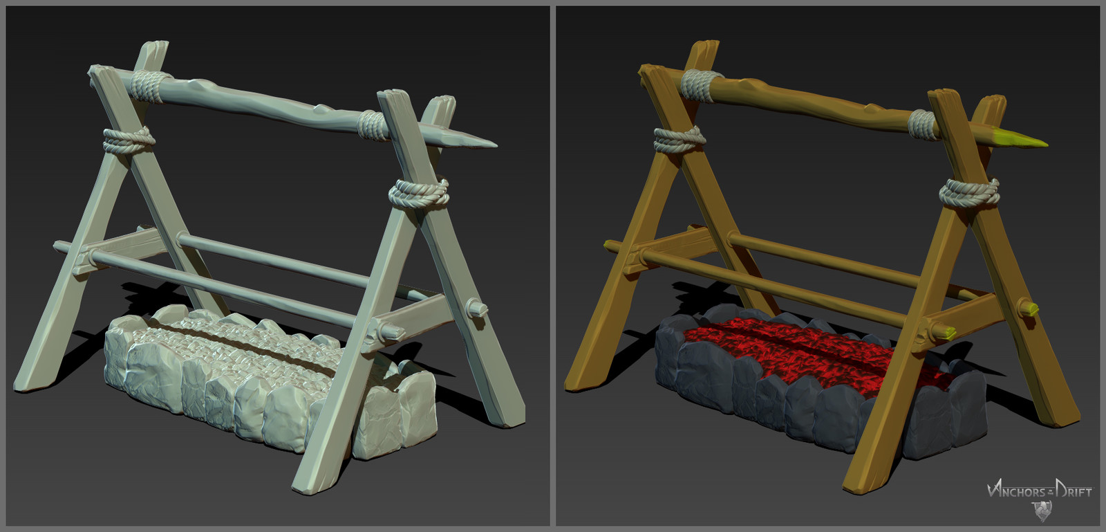 Cooking Pit Sculpt and poly paint for mask generation.