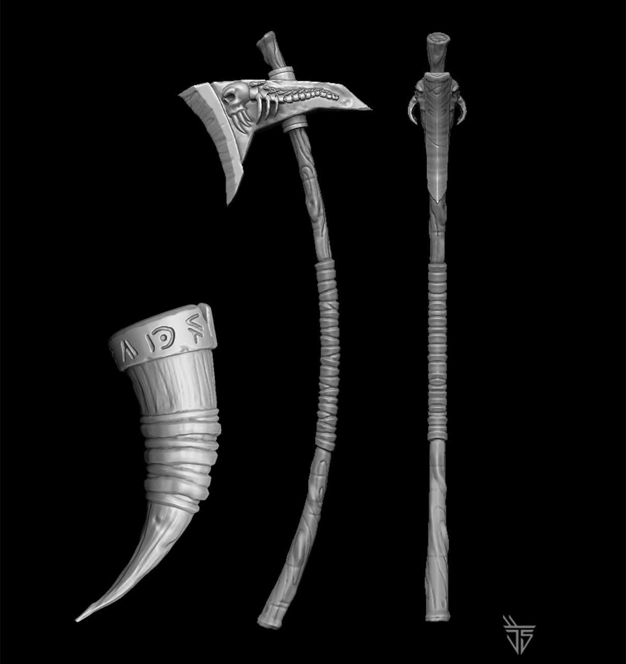 Jose samaniego renders axe horn