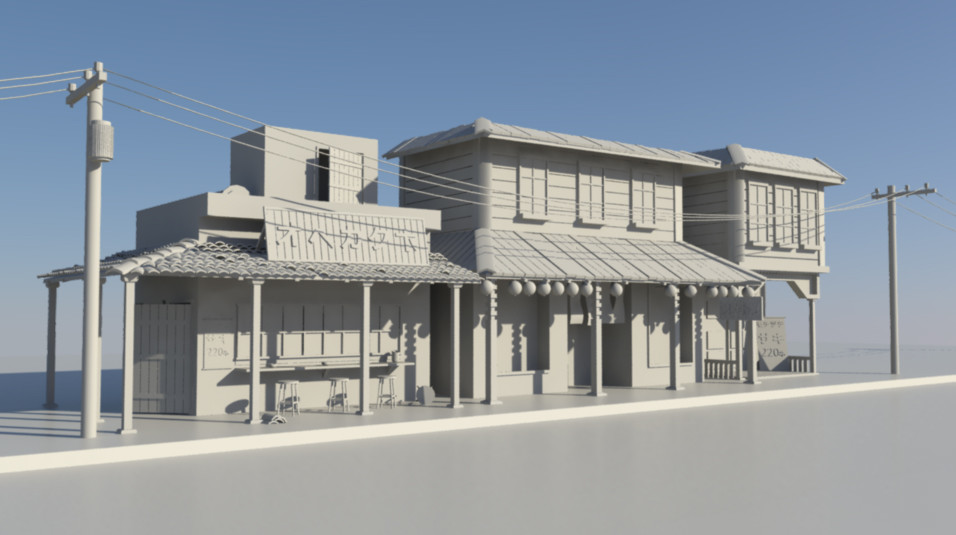 artstation a small japanese village and railroad are hidden in thei started with modeling small buildings a japanese sake bar not my concept art just used someone model as a ref