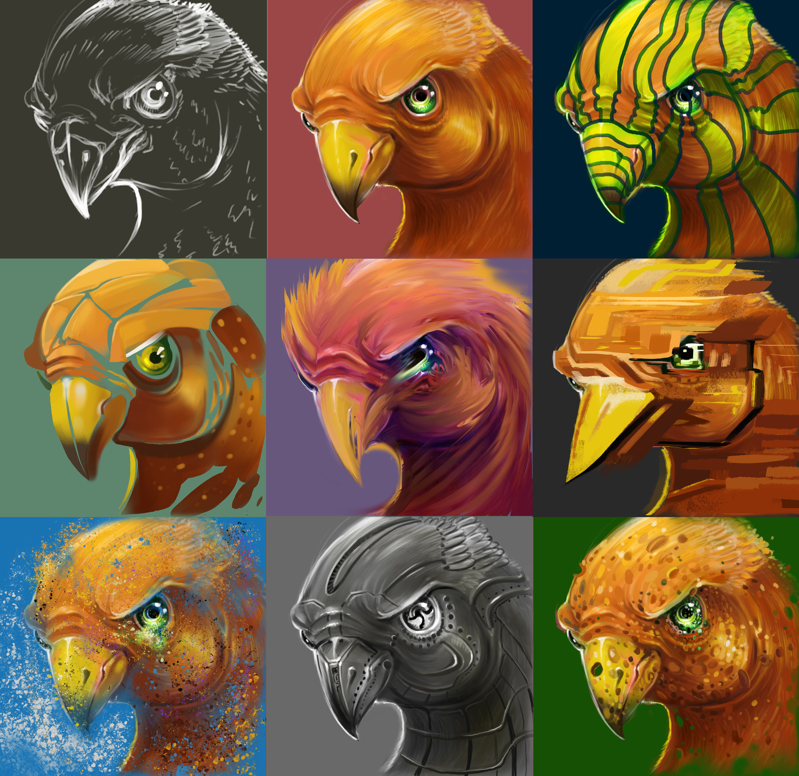 9 Styles - Bird Illustration