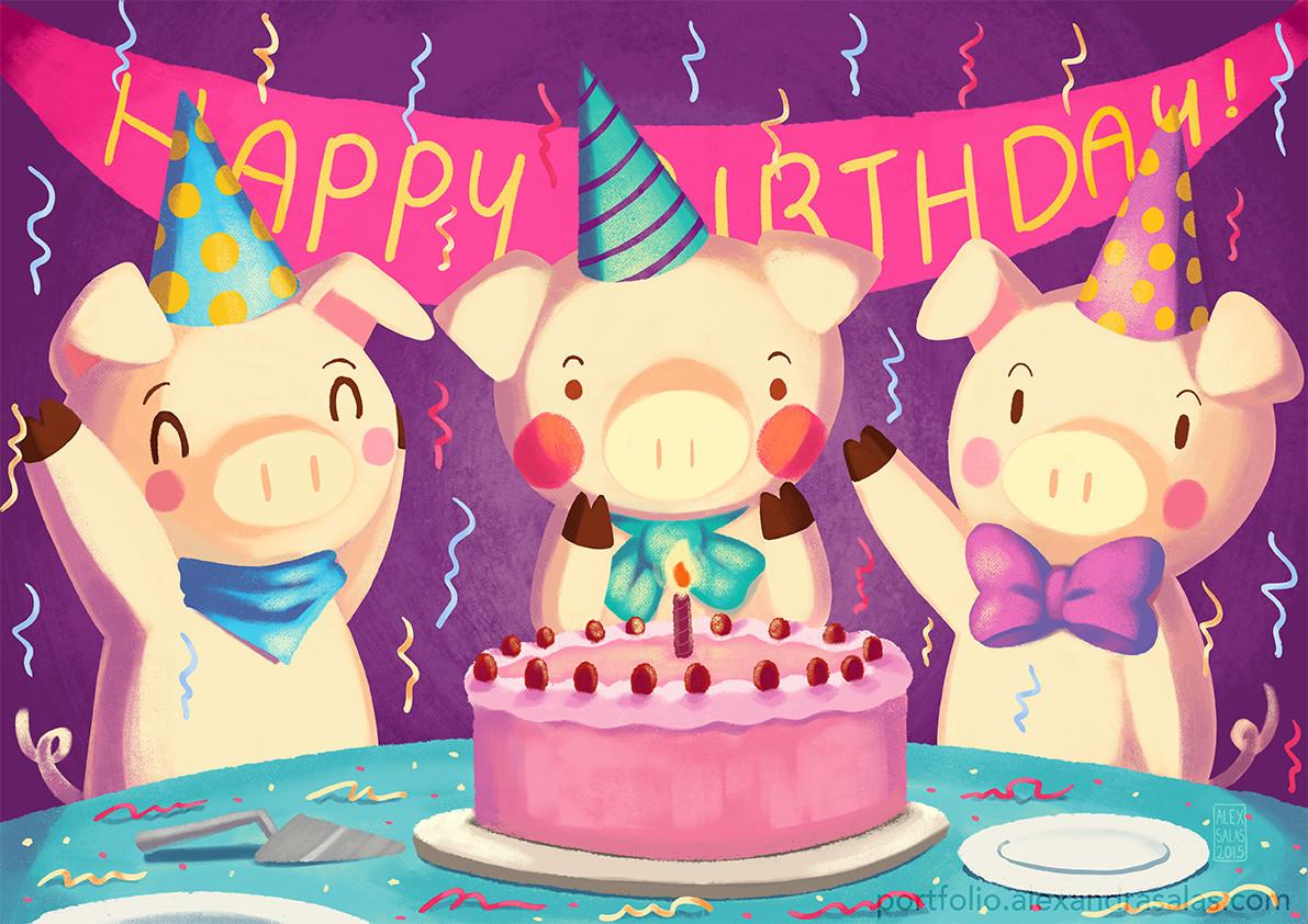 Смешные картинки с хрюшками с днем рождения