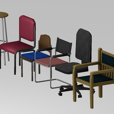 Dennis haupt low poly chairs set 8