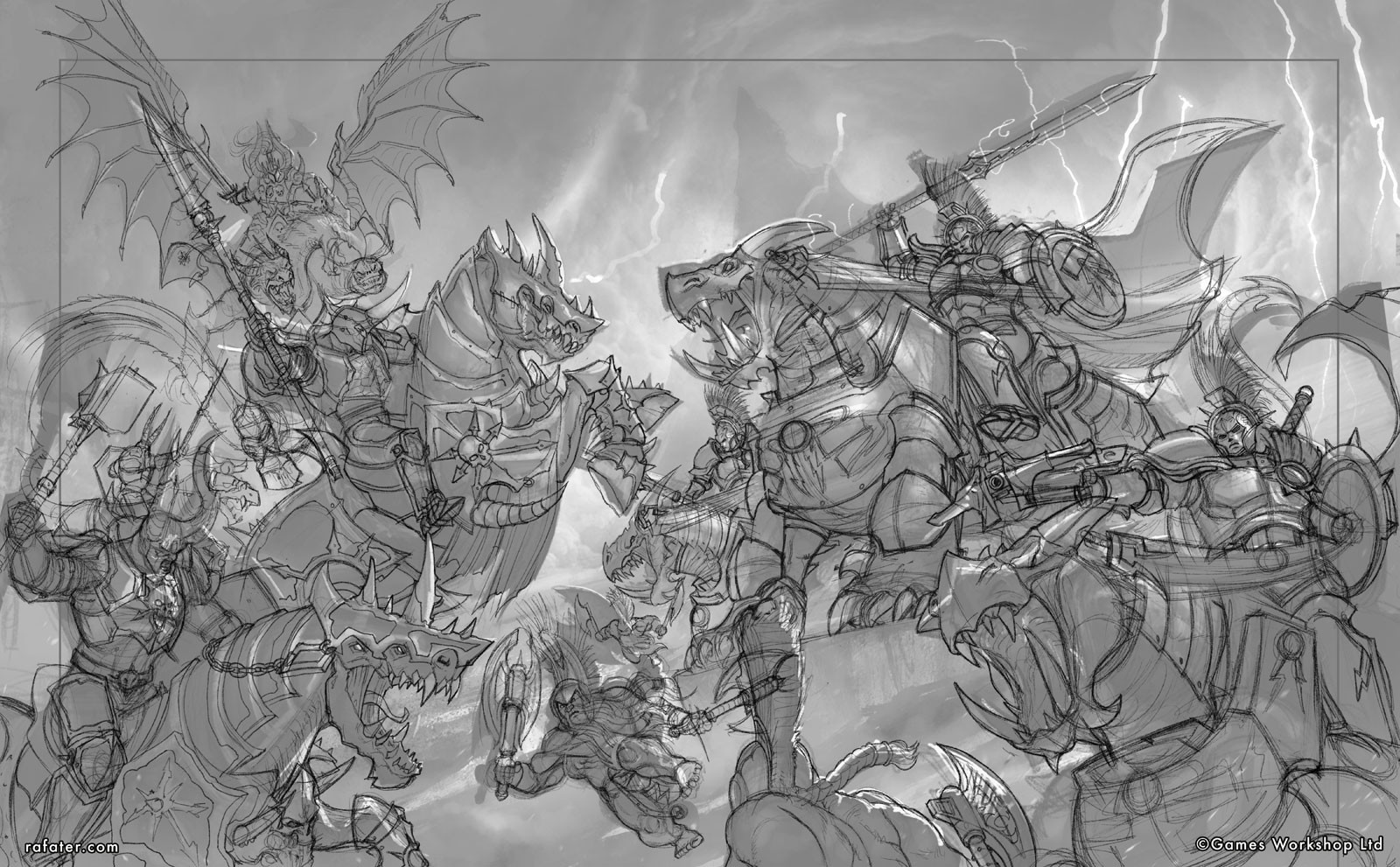 Rafael teruel dracothion guard vs varanguard 03 by rafater pencil drawing
