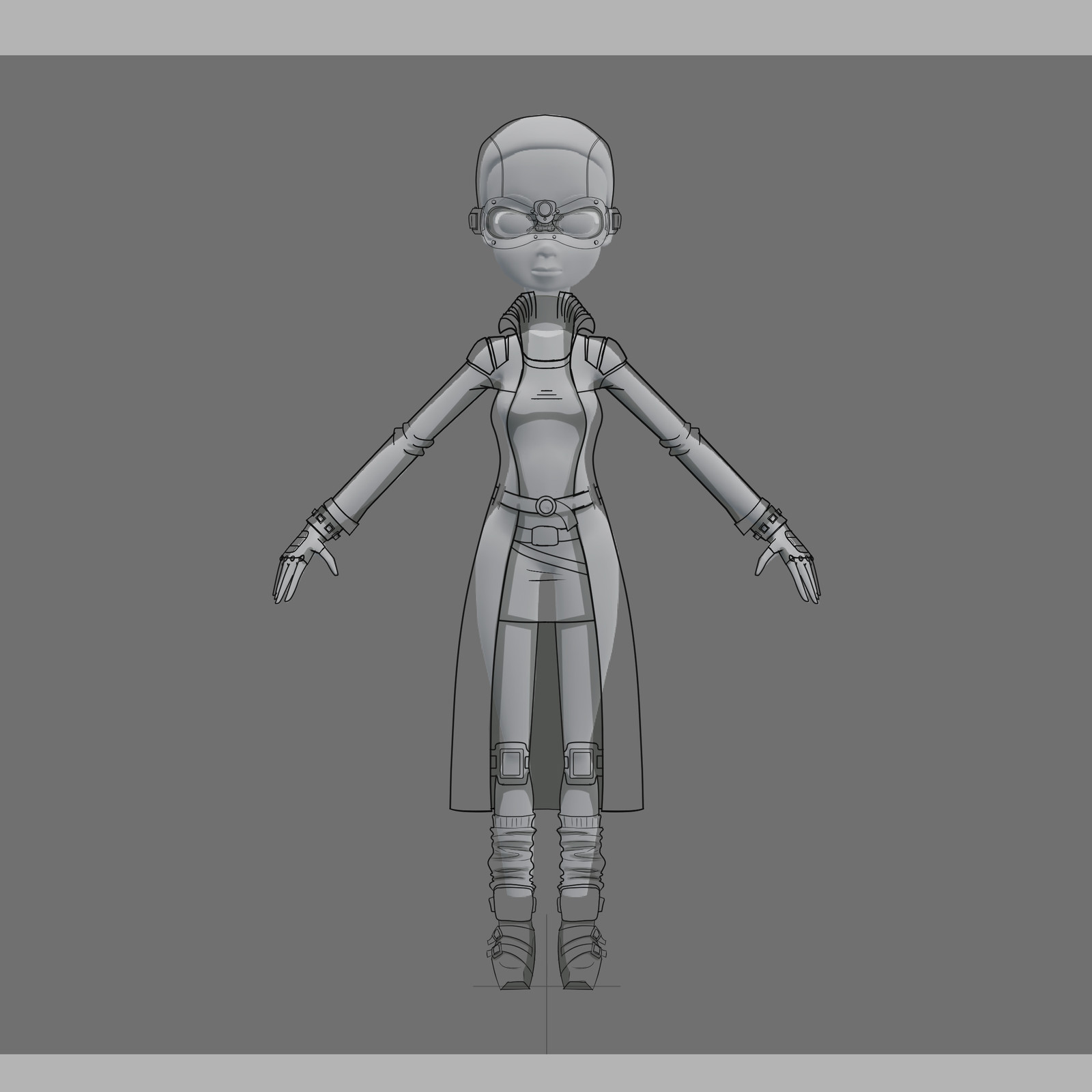 Base sculpt of the protagonist, Jane.