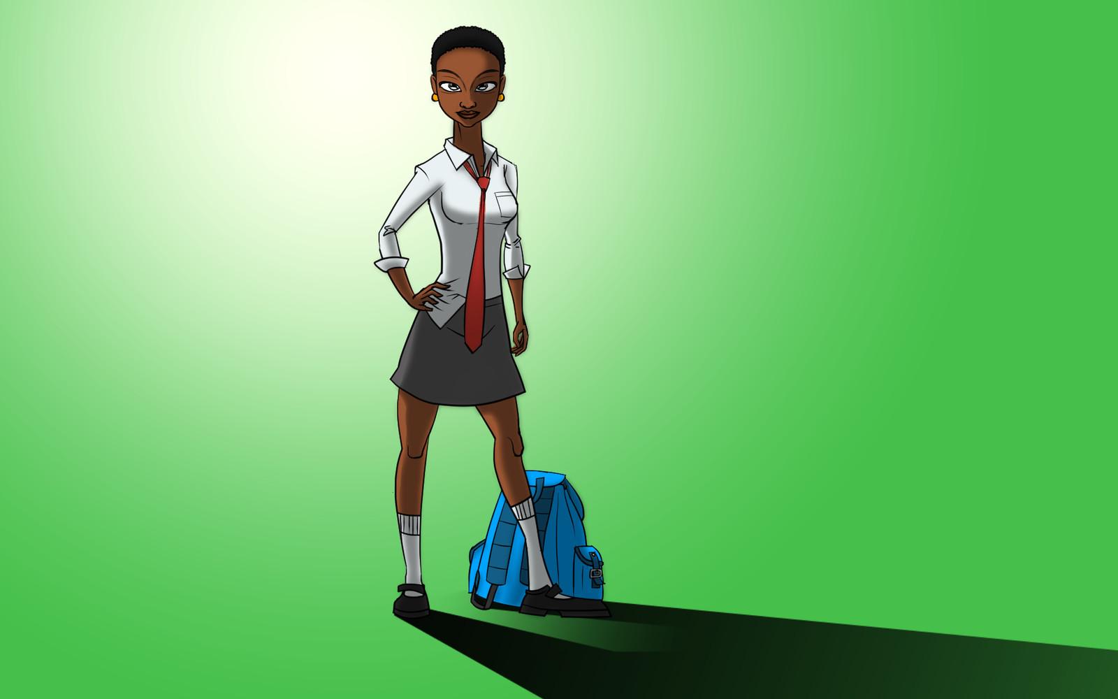 Concept art of Jane, in her school uniform