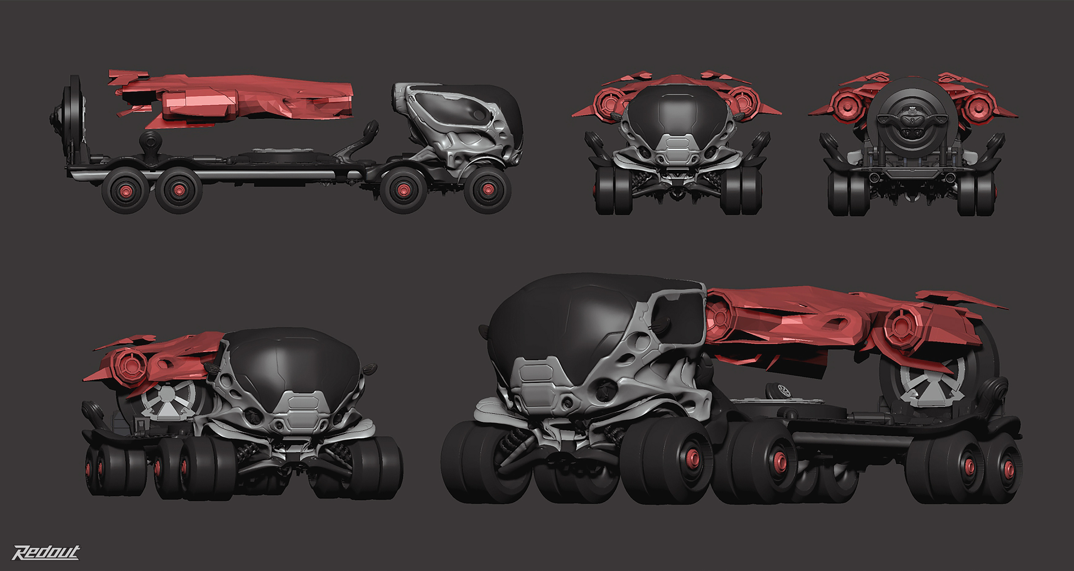 An early truck concept for Redout, able to transport a floating ship with a magnetic system.