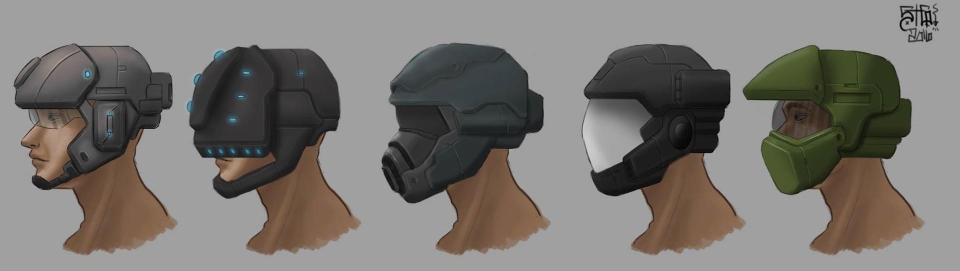 Steven Gutierrez - Sci fi Helmets, inspired by my favorite games