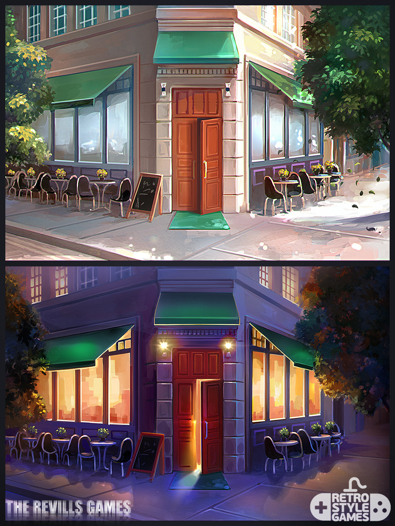 Retrostyle Games Chef Solitaire Usa Restaurant Exterior And Interior Game Backgrounds