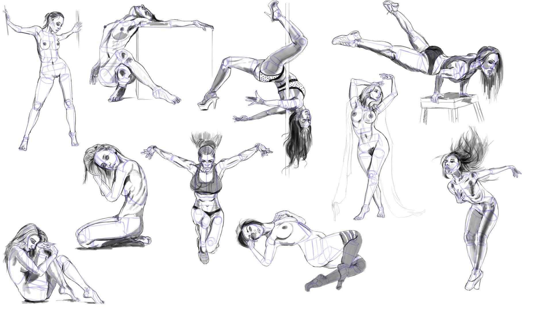 Weihan Lee - Week 4 Anatomy Basic Body Shape Studies Part II