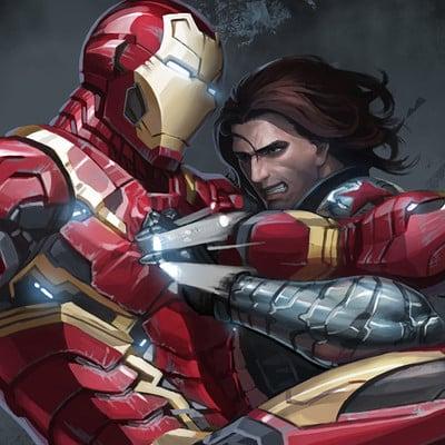 Sanghyun yu civil war fan art iron man vs winter soldier