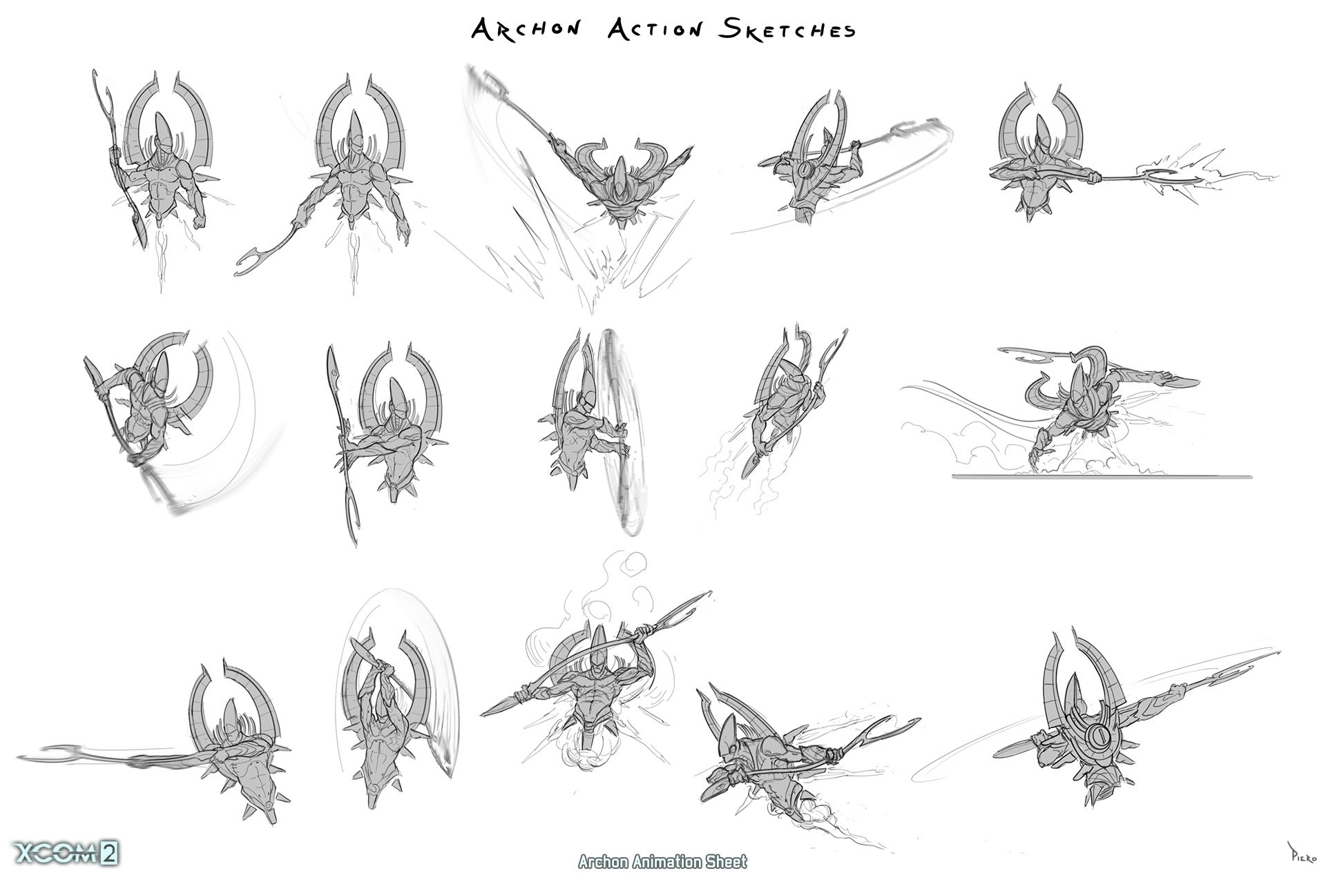 Piero macgowan xcom2 30 archon action sketches piero macgowan