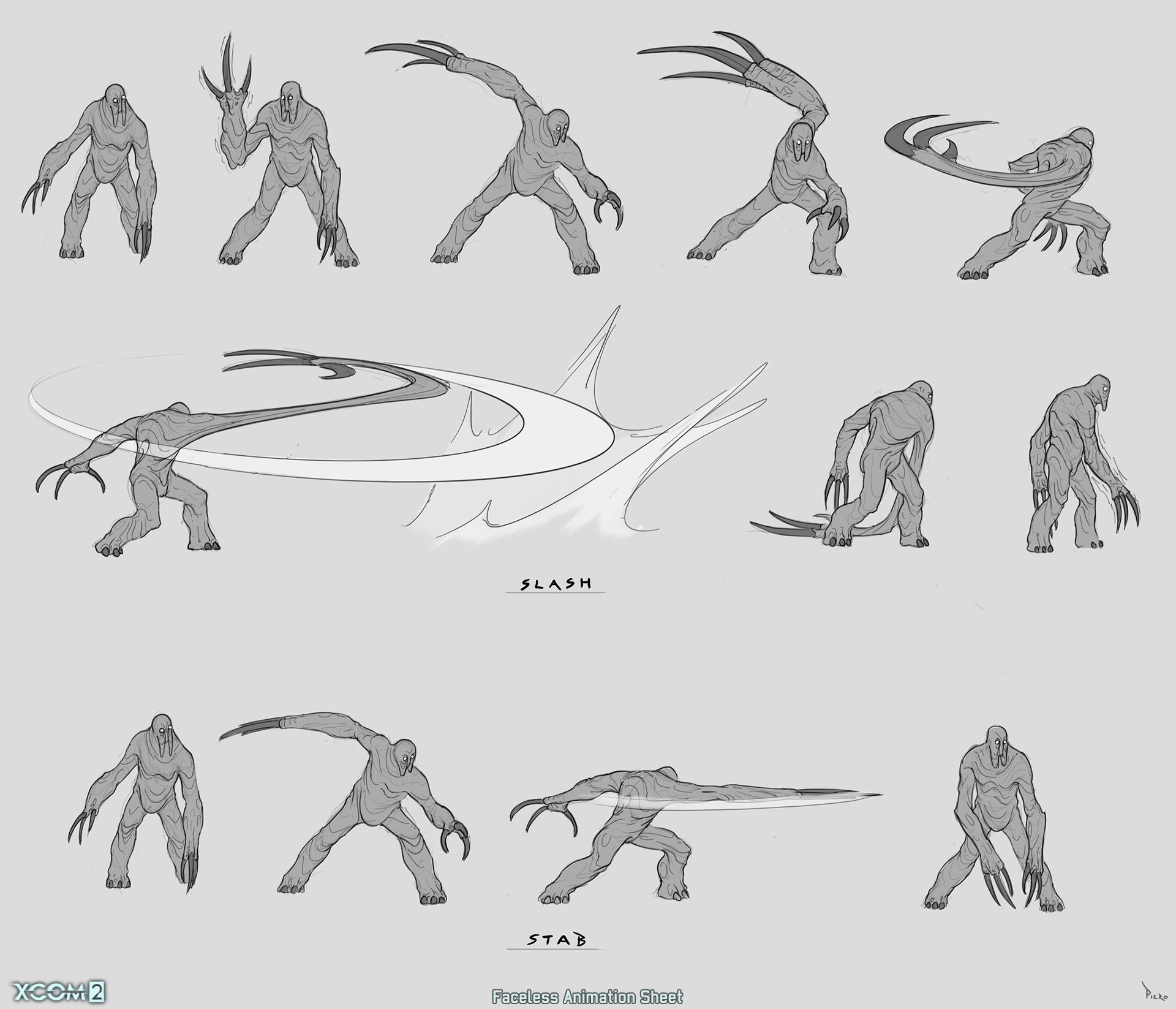 Piero macgowan xcom2 32 faceless action sketches piero macgowan