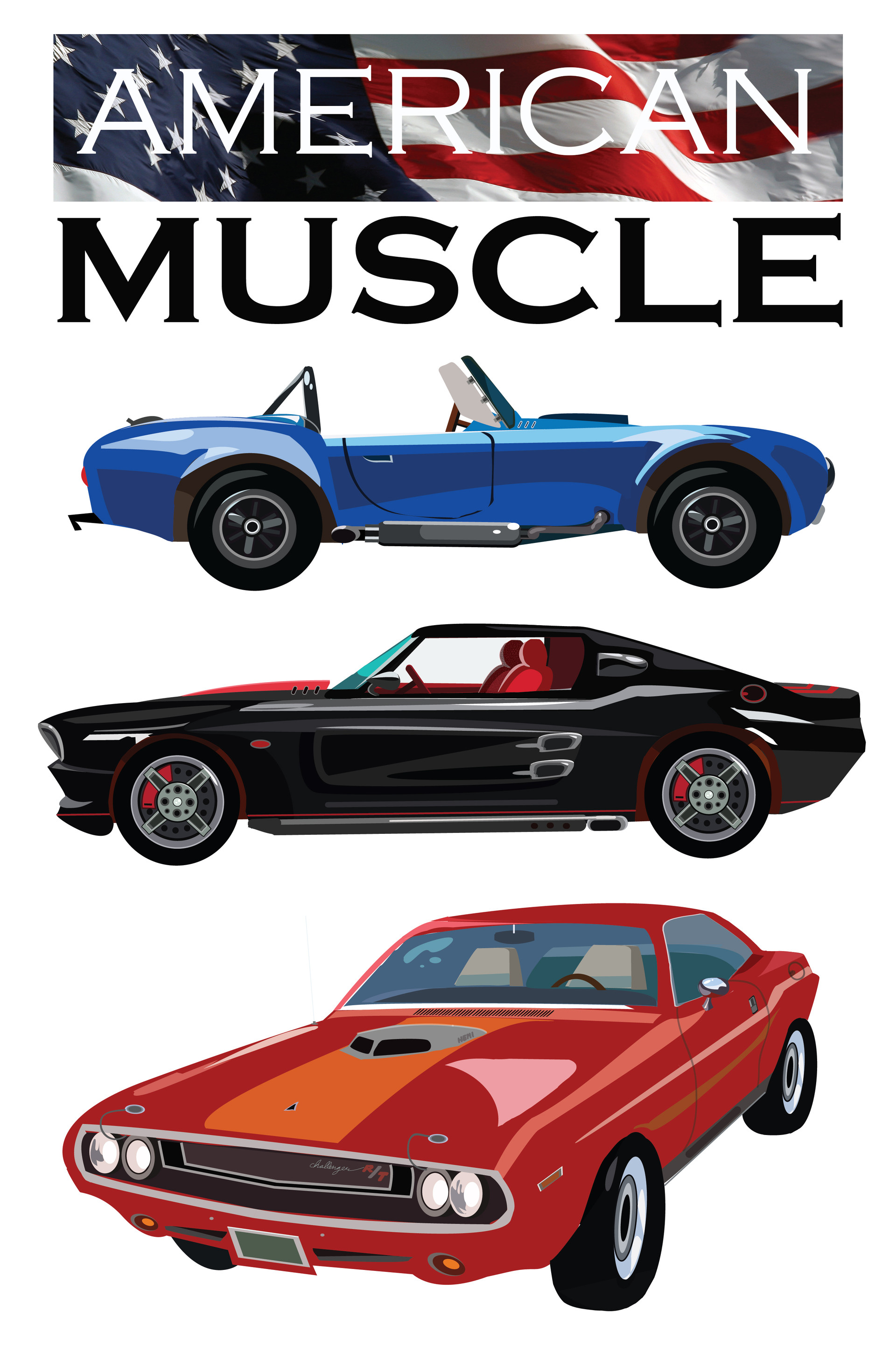 Josiah Herman - American Muscle Cars - Adobe Illustrator Project